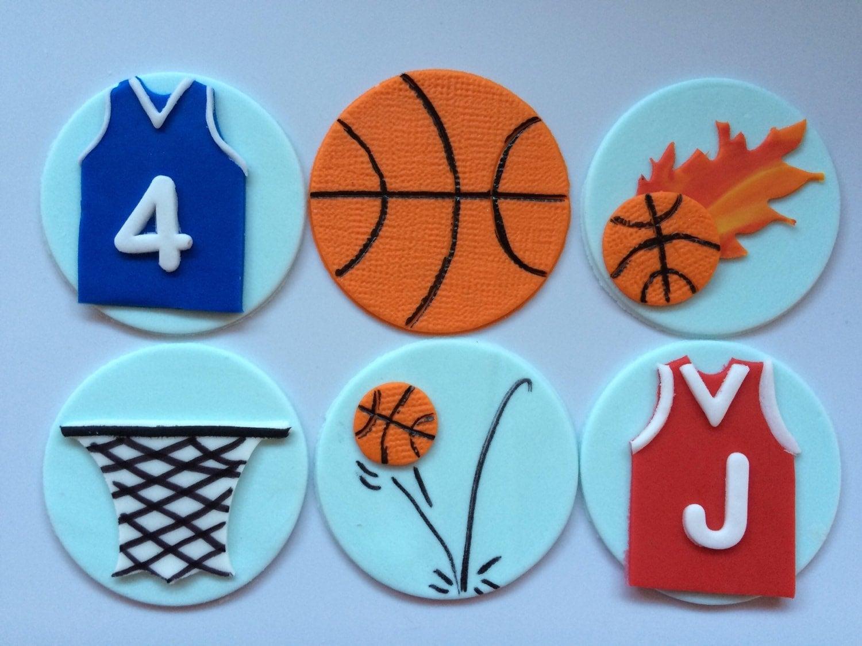 12 basketball cupcake toppers theme edible fondant ball net