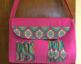 Pink Corduroy and Cotton Print Tote Bag