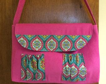 Pink Corduroy and Cotton Print Tote Bag