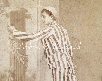 Actor in Stripes // Very unusual antique photo, rare CDV // Strange action shot of funny man in cap and striped clothing