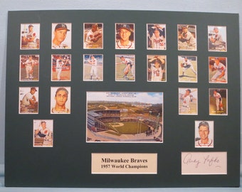 The Milwaukee Braves- 1957 World Series Champions led by Hall of Famers Warren Spahn, Hank Aaron & Ed Mathews plus Andy Pafko autograph