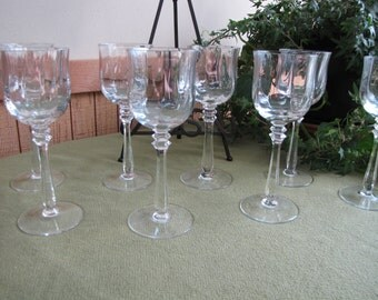 Mikasa Crystal Wine Glasses Seville Pattern 1977-1987 Cusps Set of Eight (8) Vintage Barware Stemware New Year's Eve Entertaining