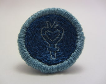 Sailor Mercury Symbol Hand Embroidered Merit Badge-Style Patch