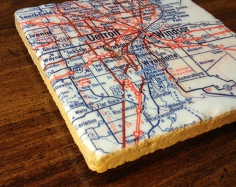MI Vintage Map Coaster Set: Detroit, Grand Rapids, Saginaw, & Lansing