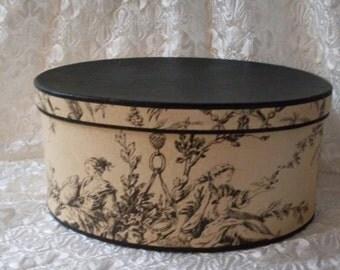 PrimiTive Folkart LG French Toile Box  Bostonbackbay  Collectibles  We Ship Internationally