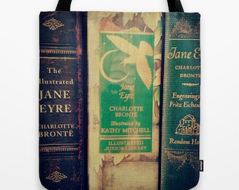 Jane Eyre Tote Bag - Charlotte Bronte, Library Bag, Book Bag, books, librarian, teacher, Victorian, Gothic, writer,