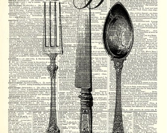 Vintage Silverware kitchen art print. Vintage dictionary page art print. Print on book page.