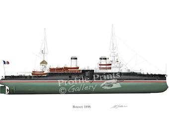 Bouvet Vintage French Battleship 1896 Profile Artwork, A4 Glossy Print