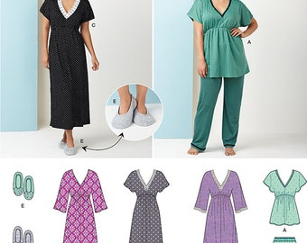 Simplicity Sewing Pattern 1260/S0472 Misses' Nightgown in Three Lengths, Pajamas & Slippers