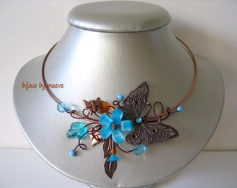 Costume jewelry turquoise necklace turquoise and brown butterfly and flowers