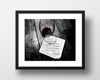 Literary Photography, Frida Kahlo Quote, Art Print, Color Photograph, Wall Decor, Drinking Word Art, Barfly Series