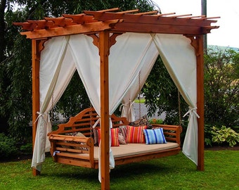 Red Cedar Pergola 8x8 ft. Swing Bed Set