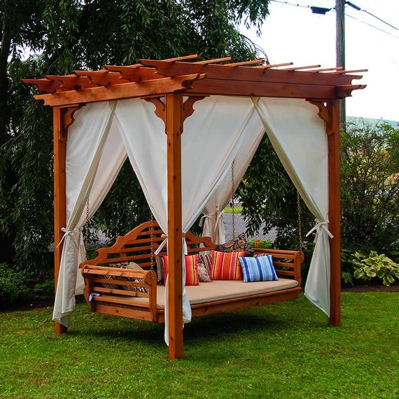 Red cedar pergola 8x8 ft swing bed set - Columpios de madera para jardin ...