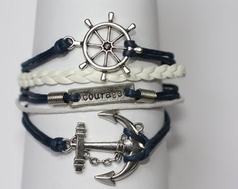 REACH~ Infinity Anchor Courage Bracelet Navy Blue and White Nautical Sailor Bracelet Bootcamp Military Gift ilovecheesygrits
