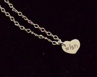 Hand Stamped Sterling Silver Affirmation Necklace Wish For Girls or Women