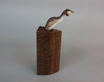 Great-crested Grebe  - Miniature - Wildfowl Wood Carving - Bird Art