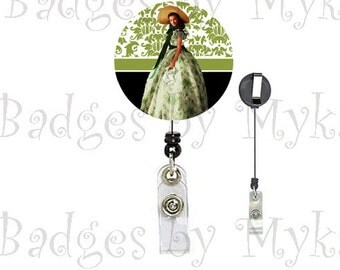 Retractable ID Badge Holder - Gone with the Wind