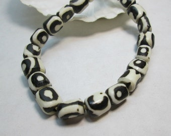 Black and White Batik Bone Ethnic Beads from Kenya