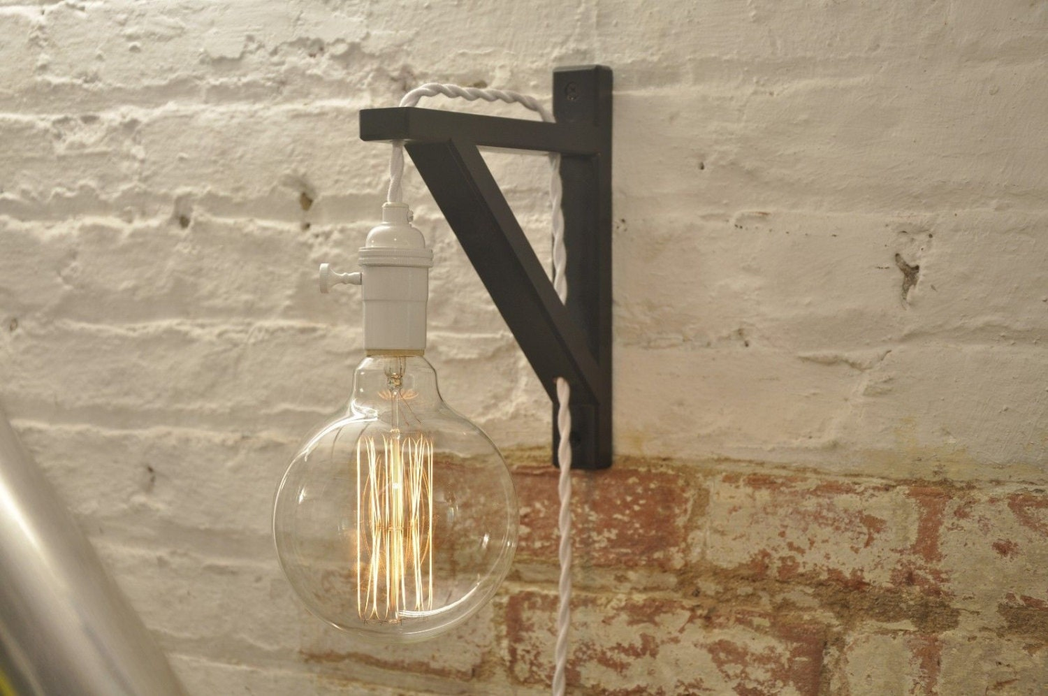 Wall sconce white over brass light lamp industrial retro for Applique murale 5 ampoules