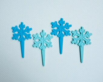 12 Biodegradable Snowflake Cupcake Picks