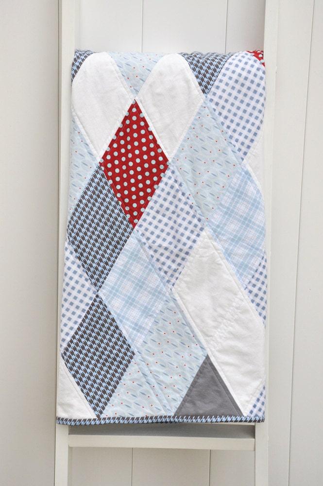 Modern Nursery Quilt Patterns : Modern Baby Quilt Trendy Diamond pattern Blue Gray Red