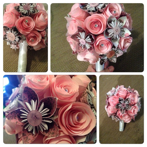 Wedding Bouquet Paper Flowers Mafe To Order Beautifully Unique