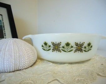 Anchor Hocking Fire King Green Meadow Casserole Dishes