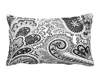 7 Sizes Available:  Paisley Pillow Black Pillow Cover Black Throw Pillow Sofa Pillow Accent Pillow Cushion Cover Decorative Pillow