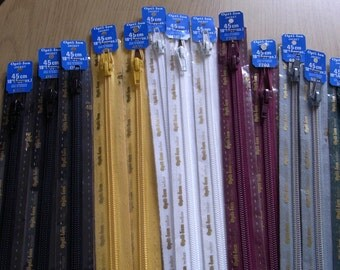 PRICE REDUCED!Thirteen Top Quality Optilon Open End Zips 45 cms (18 inches)