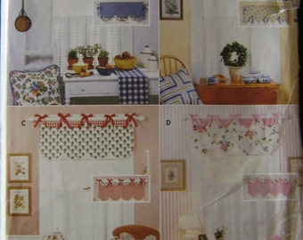 OUT of PRINT Butterick Pattern 5573 Easy Reversible Window Valances