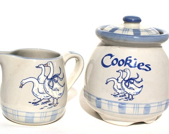 Louisville Stoneware Pottery Gaggle of Geese Canister Cookie Jar Made in Kentucky / Stoneware Cookie Jar / Pottery Cookies and Milk Set Jar