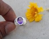 Oval Shape  Amethyst, Cubic Zircon Gemstone Sterling Silver Ring Jewelry - Handmade Ring Size 6- Best Gift Jewelry- AK-01