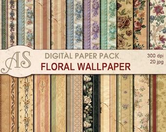 Digital Vintage Floral Wallpaper Paper Pack, 20 printable Digital Scrapbooking damaged papers, Decoupage papers, Instant Download, set117