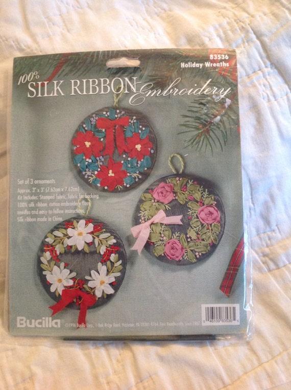 Bucilla silk ribbon embroidery kit set of three by kendishop