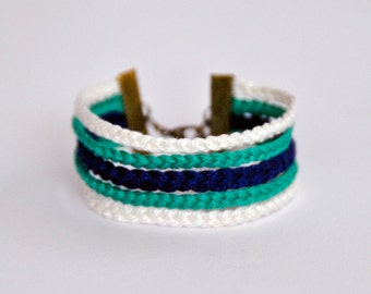 Cuff Bracelet / 5 braids / white - green water and blue electric