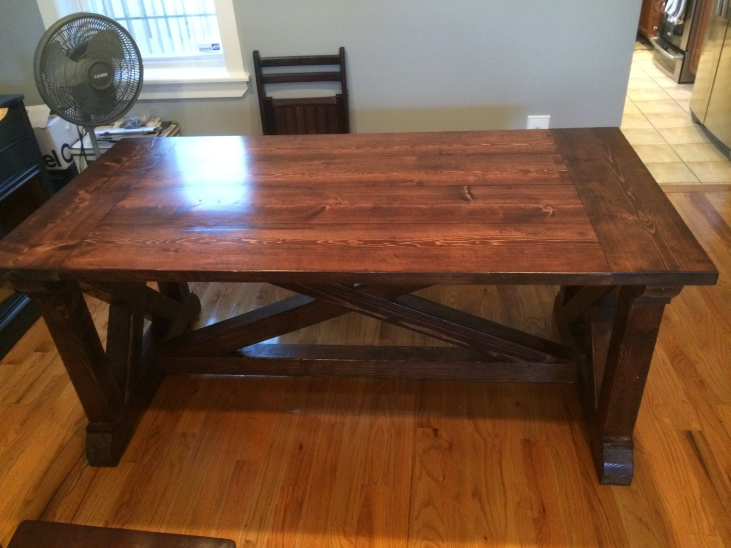 Rustic farmhouse table wih x legs 6 39 long by for Farmhouse table plans with x legs