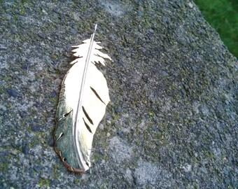 Hand Made Feather- Brass and Silver- One of a kind
