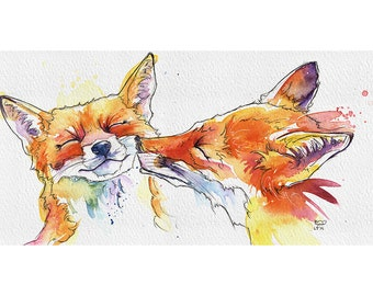 Smoochy Foxes greetings card birthday card anniversary from original handmade watercolour.