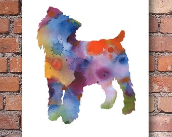 Brussels Griffon Art Print - Abstract Watercolor Painting - Wall Decor
