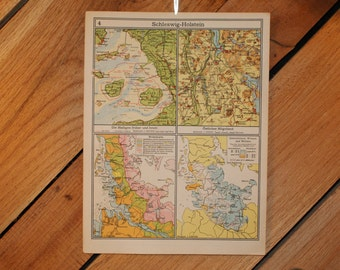 1949 - Schleswig-Holstein Map - Vintage Map Published in Germany