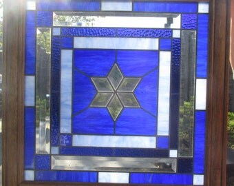 "Stained Glass Window Panel  ""Blue Star Bevel"" Framed"