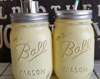 Light Meringue Yellow Ball Mason Jar Soap Dispenser or Toothbrush Holder