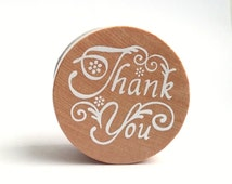 Thank You Wooden Round Rubber Stamp in Cursive Script - For Scrapbooking Packaging Cardmaking Giftwrapping Wedding Tags