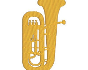BUY 2, GET 1 FREE - Tuba Machine Embroidery Design - Filled, Band, Musical Instrument, Orchestra - in 3 Sizes - 3 inch, 4 inch, 5 inch