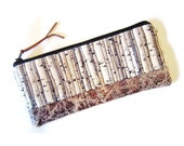 Zipper pencil case/ Writing case/ Small cosmetic bag / woods pattern cotton fabric and faux leather pencil case