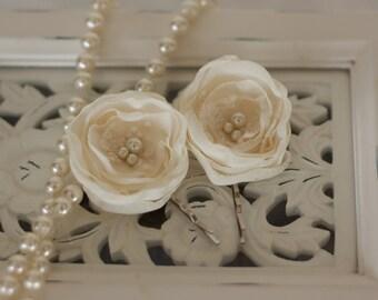 Vintage inspired ivory chiffon and lace hair pins, bridal hair pins