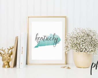 Kentucky Outline, Kentucky, Kentucky State, Kentucky Print, Kentucky Prints, Kentucky Art, Watercolor Art, Silhouette Art, Geography Gift