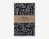 Metallic Gold Nature Pattern Screen Printed Notebook with Blank Pages