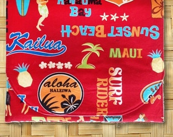 iPad Cover, iPad Case, iPad Holder, Tech Case, Tech Cover with velcro closure in Hawaii Memories Print - Made in Maui