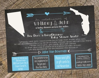 Long Distance Boy Chalkboard Baby Shower 5x7 Invitation